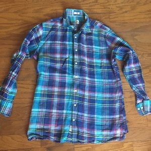 Peter Millar plaid Linen button down shirt M L
